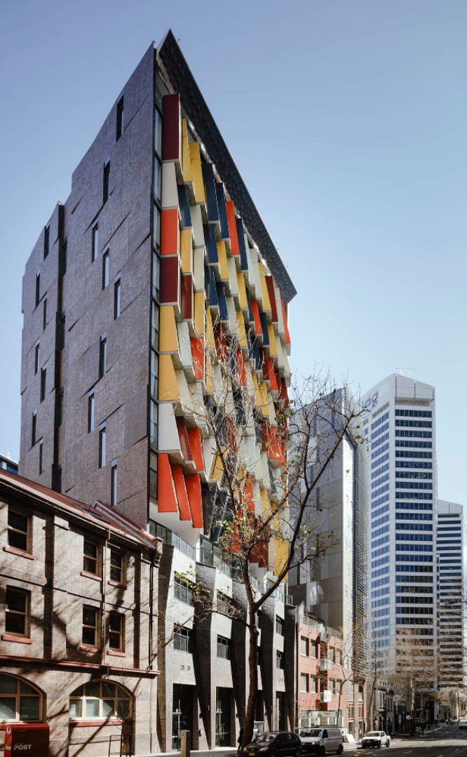 The angled brick inlay side facade featuring Iron Mountain facing tiles to match
